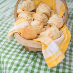 Close up of a basket of scones