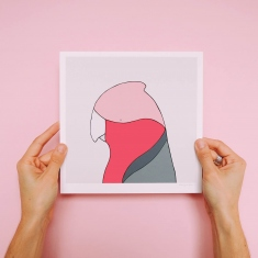 Hands holding up a print of a galah's head against a pink wall.