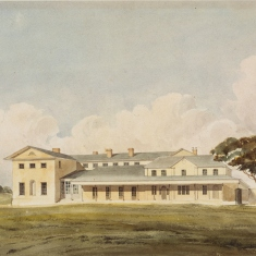 Painting of colonial era building.