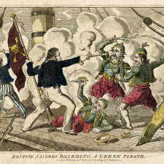Coloured print depicting sailors fighting pirates on board ship.
