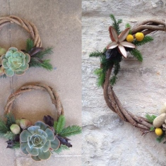 Christmas wreaths made from plants and natural materials.