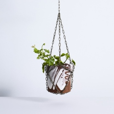 Hanging pot with plant.