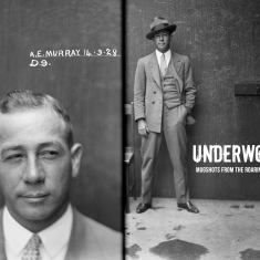 This is a black and white mugshot of a man called Arthur Murray. He is dressed in a dapper suit and in one image is looking deliberately to his left