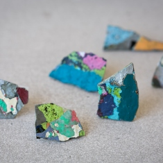 Set of brightly coloured fragments.