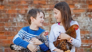 Two children holding chickens sitting in front of worn red brick wall.