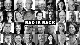Photo montage of authors with Bad is Back across middle of image.