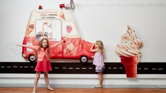 Visitors with the Mr Whippy ice cream display at the Alphabetical Sydney: Creative Lab exhibition.
