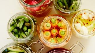 Pickled zucchinis.