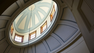 Looking up into domed skylight.