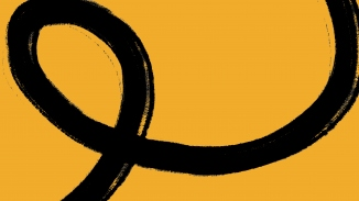 Graphic of yellow background with flowing black looping line