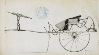 Page from a book, with image of horse-drawn vehicle.