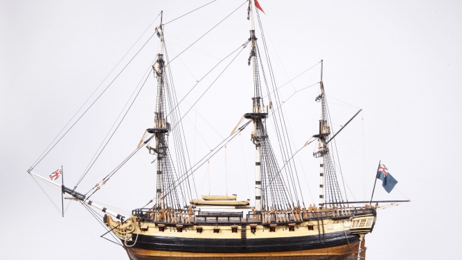 Photograph of a wooden model depicting a First Fleet Ship