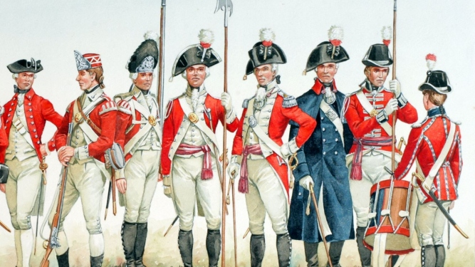 Colour illustration of the uniforms of the British Marine Corps 1755-1807