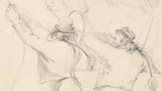 Thumbnail crop of pencil sketch of sailors at work on ship.