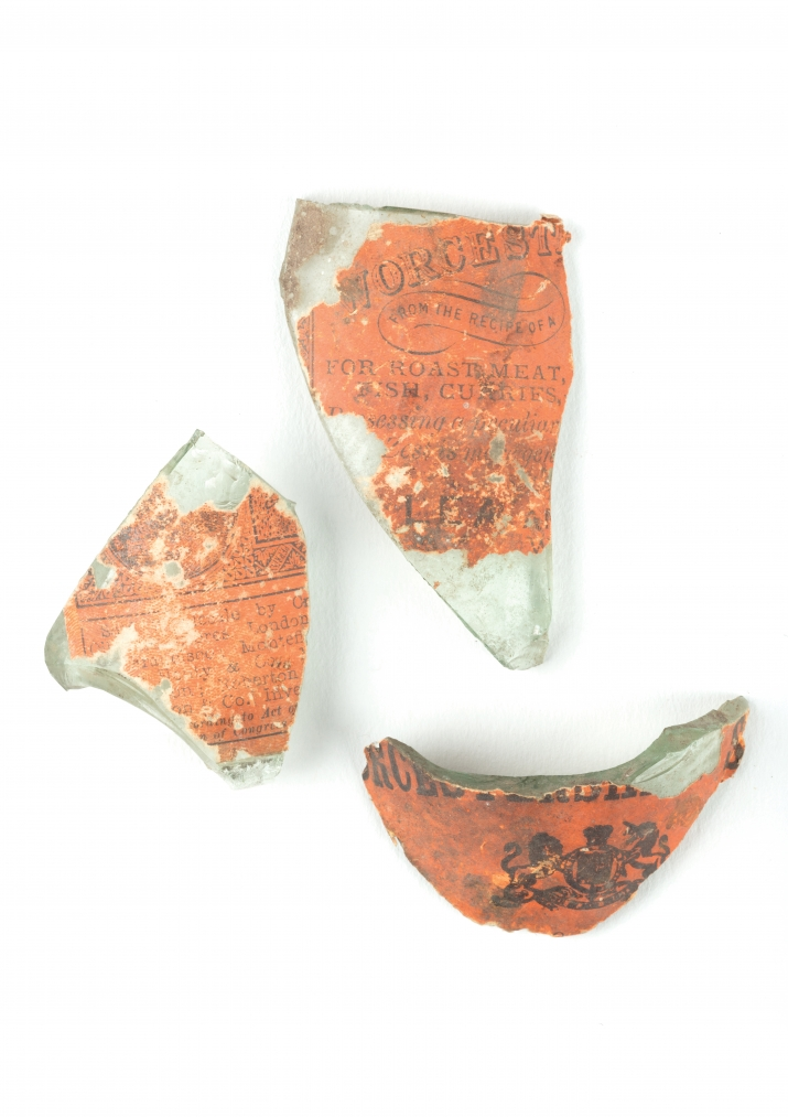 Fragments of Worcestershire sauce bottle