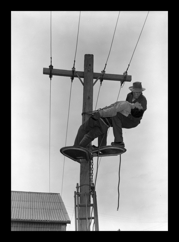 Two men on an electricity pol