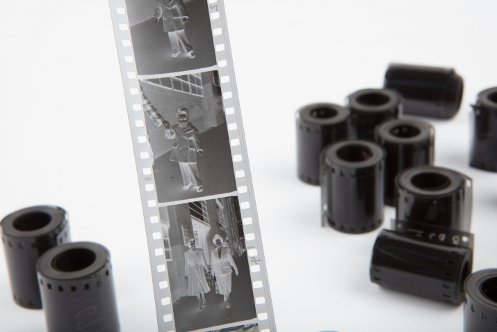 A roll of film near rolls of 35 mm film from the Ikon Studio archive