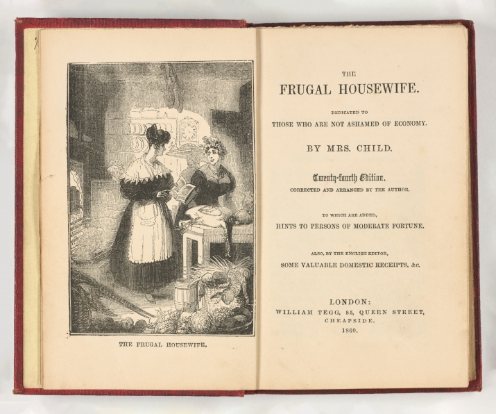 Open book with an image of two maids in a kitchen on the left