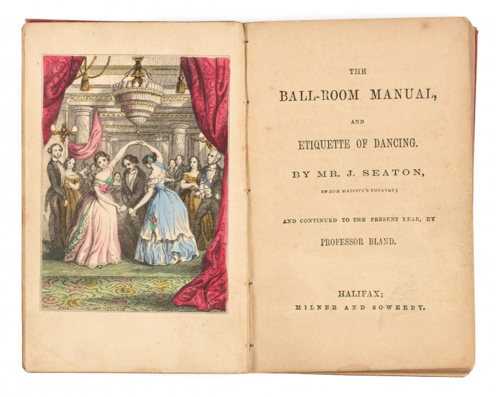 Illustration of two women dancing in a ball room