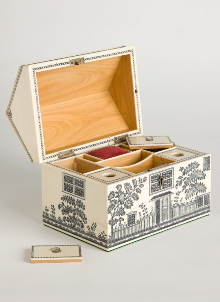 Reproduction of a workbox said to have belonged to Elizabeth Macarthur.