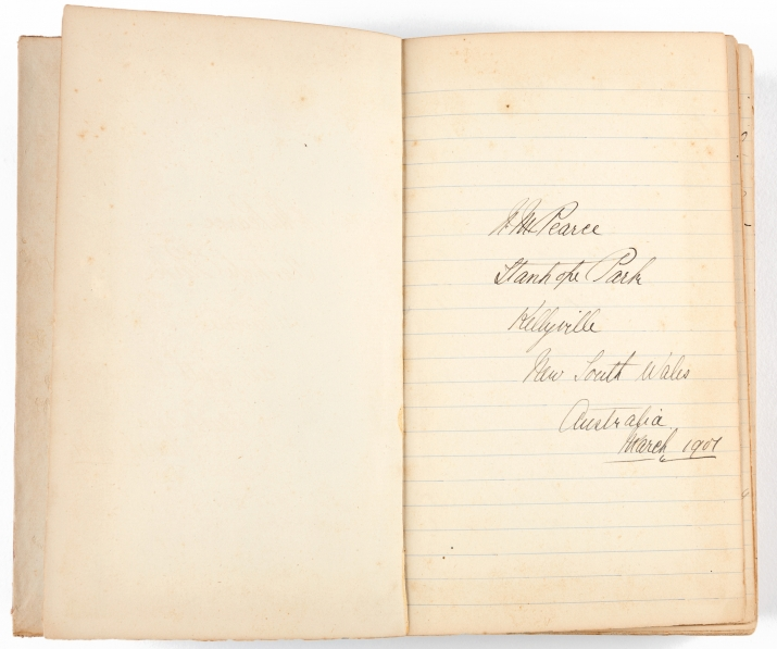 Two page spread with handwriting on right hand page only. Inscription of name and address and date.