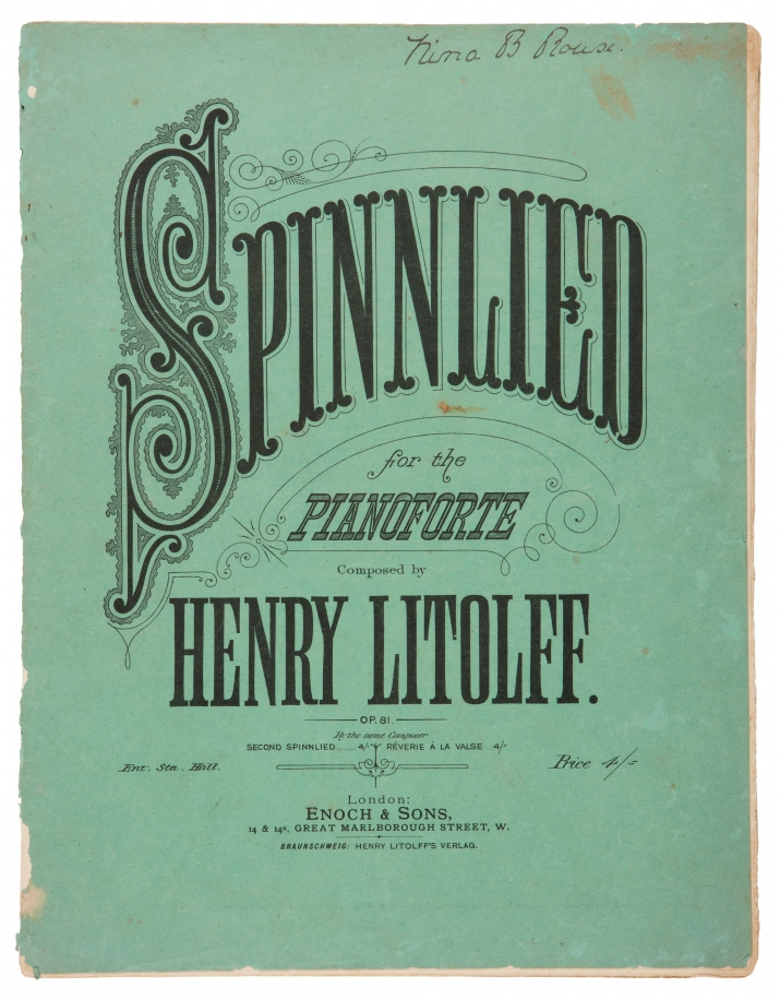Green piano music  book cover with title in ornate writing.