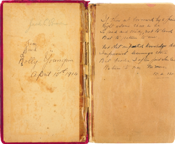 Handwritten signature and inscription on end page and inside cover of worn book.