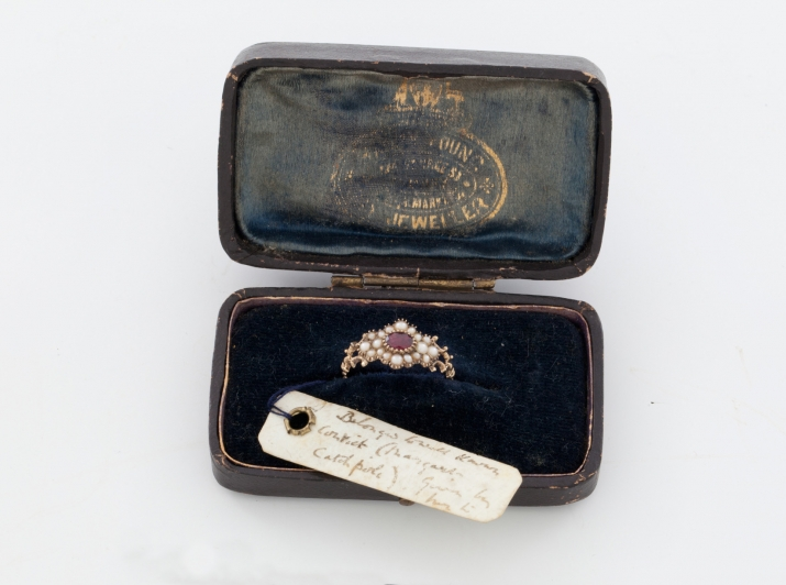 Margaret Catchpole's ring and black leather case.