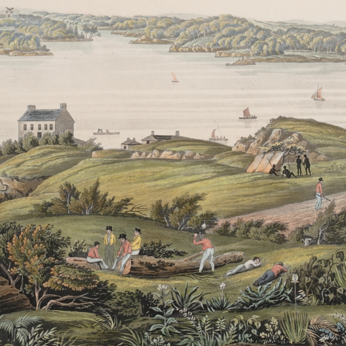 Reprint of hand-coloured engraving depicting a panoramic view of historic Sydney.