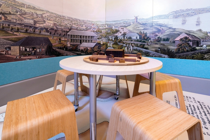 Table and chairs with panorama behind.
