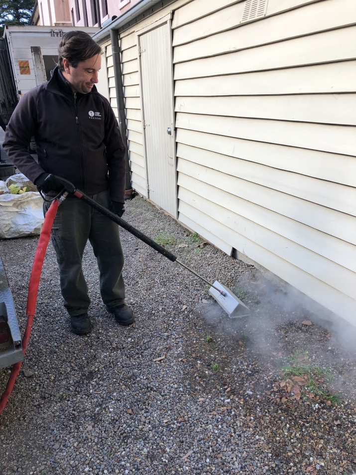A SLM staff member uses a steam weeding machine to kill weeds alongside the driveway at the mint.
