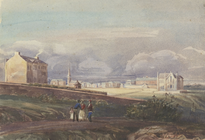 Watercolour drawing of group of people walking on path through grassy paddock in colonial Sydney with buildings in the background and rocks and shrubs in foreground.