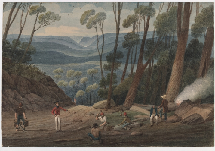 Dark toned painting of men working in foreground with view of mountains and valleys in distance.