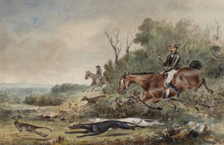 Men on horseback with hounds pursuing kangaroo to left of painting.