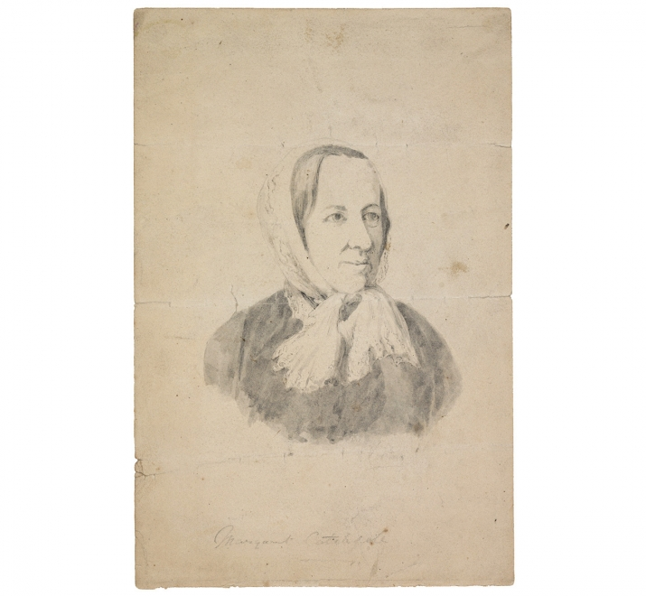 Ink and grey wash drawing of Margaret Catchpole, undated