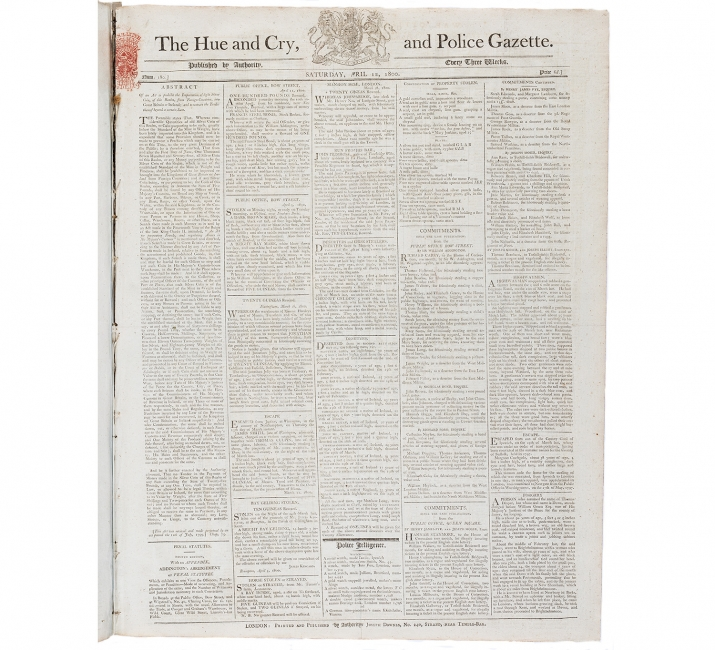 Front page of 'The Hue and Cry, and Police Gazette', Saturday 12 April 1800