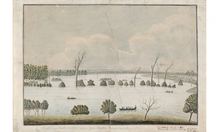 Hawkesbury flood in 1816, taken from Crofton cottage Windsor no.4