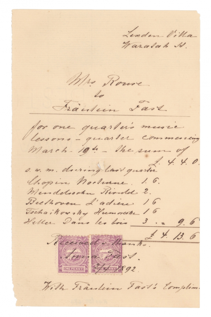 Handwritten receipt with red stamp imprint at bottom.