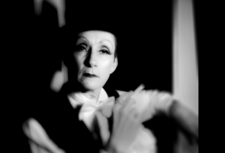 Image of a person dressed like Marlene Dietrich