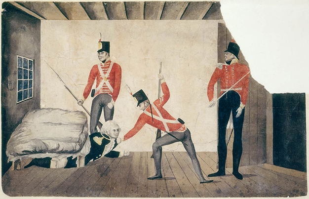 Redcoats dragging man out from under a bed.