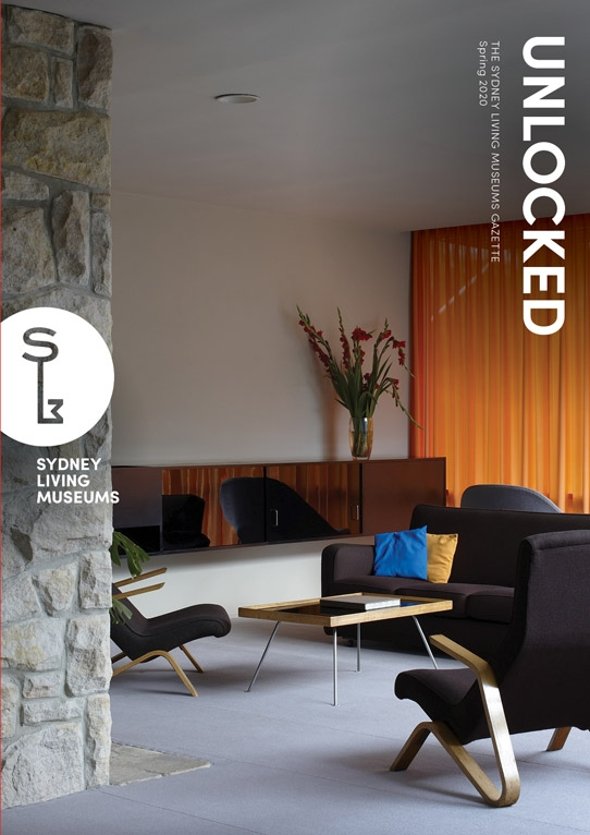 Magazine cover image showing interior of modernist house.