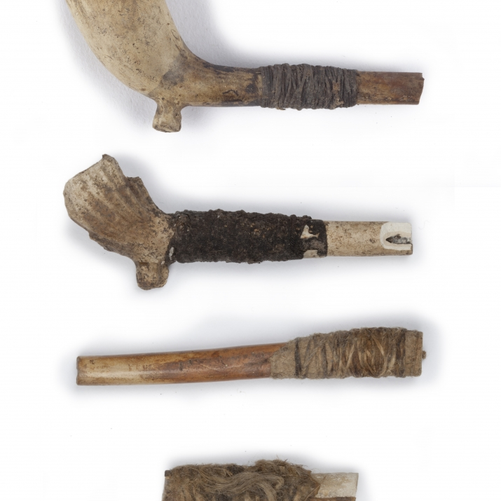 Group of handmade clay pipes