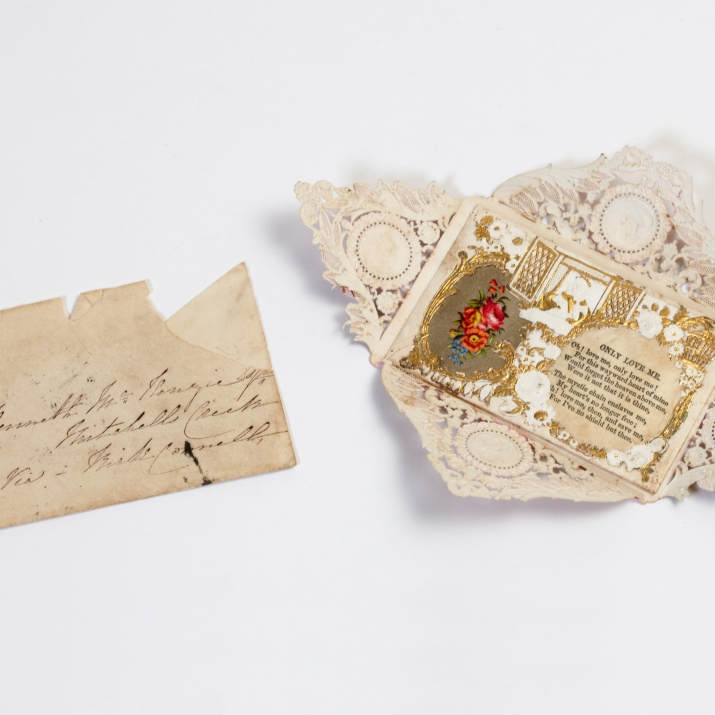 Elaborate valentine's message with hand addressed envelope.