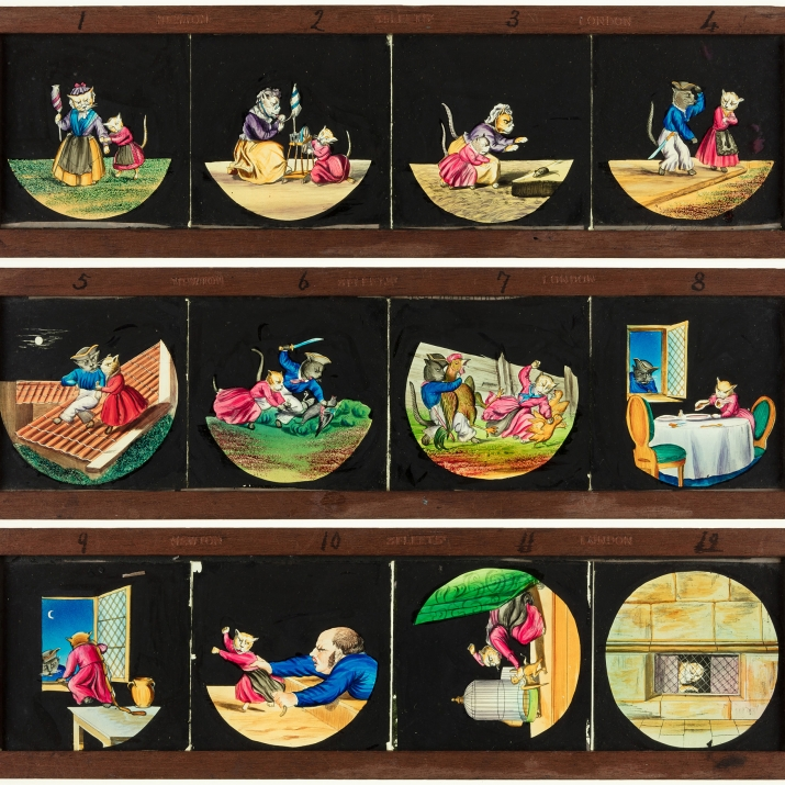 Set of three static, timber-framed, glass slides for a magic lantern. These slides show a sequence of twelve scenes from the story 'Pussy's Road to Ruin'.