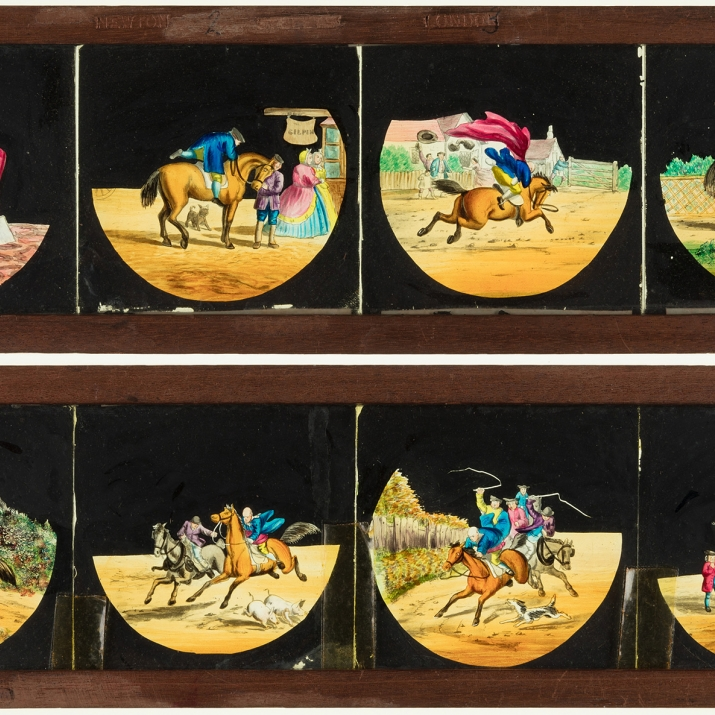 Stacked images of two static, timber-framed glass slides for a magic lantern. These slides feature a sequence of individual hand-painted scenes illustrating the story of John Gilpin.