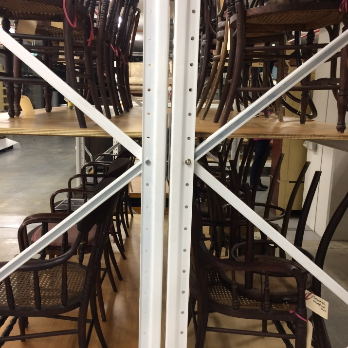Collection of chairs at the MDC storage facility.