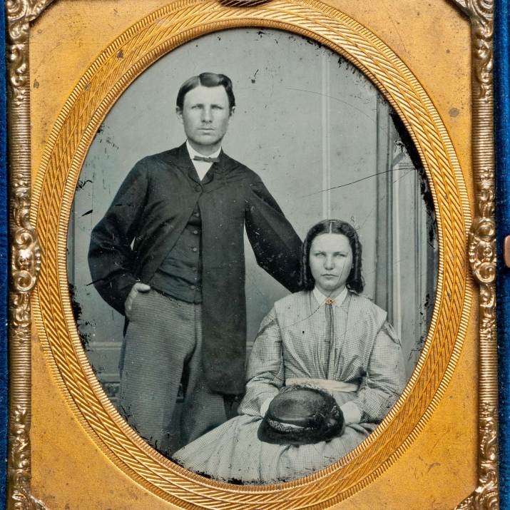 Ambrotype portrait photograph of a man (possibly Robert Taylor Thorburn) and unidentified woman, 19th century