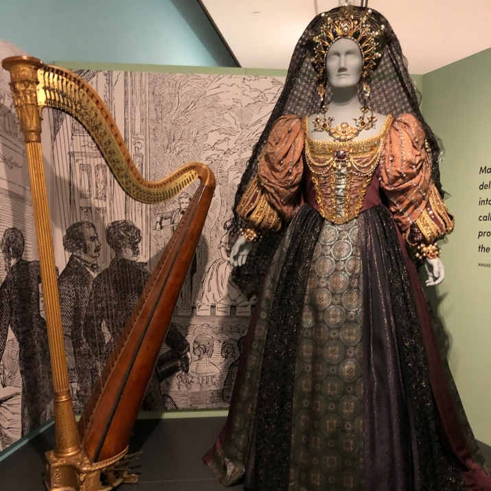 Costume and instrument on display.
