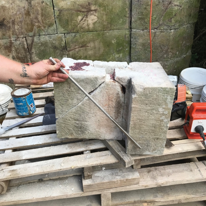 Block of stone being worked on.