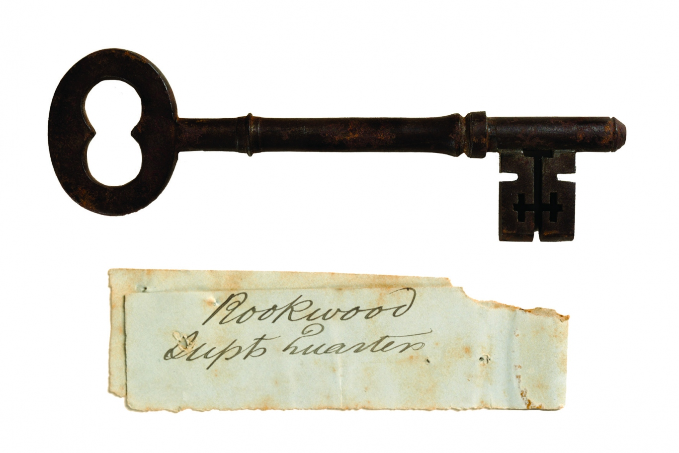 Large metal key and handwritten label that reads: Rookwood Supt. Quarters.